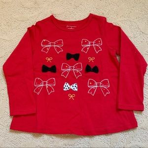 First Impressions Red Long Sleeve Bow Shirt